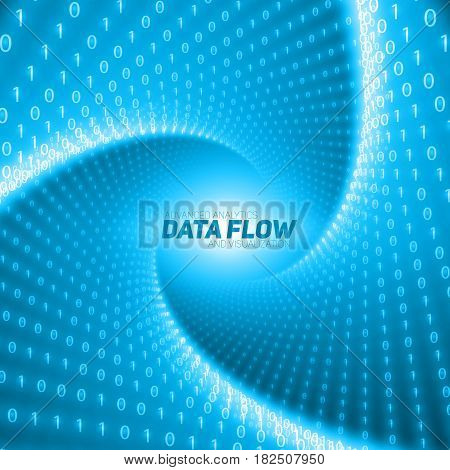 Vector data flow visualization. Blue flow of big data as binary numbers strings twisted in tunnel. Information code representation. Cryptographic analysis. Bitcoin blockchain transfer. Stream of code