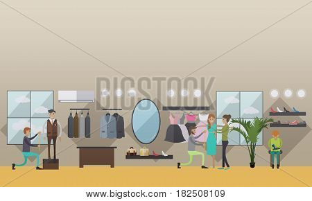 Vector illustration of custom dressmakers, tailors male and female taking measurements from clients. Atelier, tailoring shop, fashion salon concept design element in flat style.