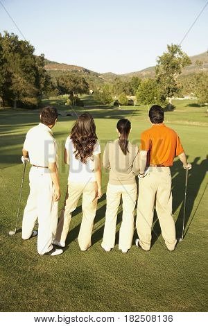 Rear view of two Hispanic couples on golf course