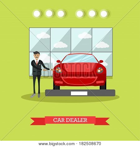 Vector illustration of car dealer demonstrating red automobile. Car shop or car dealership flat style design element.