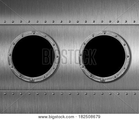 two metal submarine or spaceship porthole windows 3d illustration
