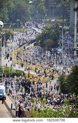 Kiev, Ukraine - 27 August 2016: Orthodox Religious Procession