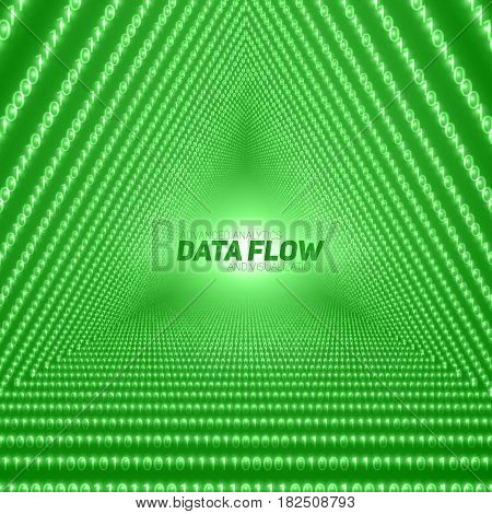 Vector data flow visualization. Triangle tunnel of green big data flow as binary numbers strings. Information code representation. Cryptographic analysis. Bitcoin blockchain transfer. Stream of code