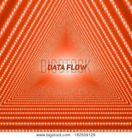 Vector data flow visualization. Triangle tunnel of red big data flow as binary numbers strings. Information code representation. Cryptographic analysis. Bitcoin blockchain transfer. Stream of code