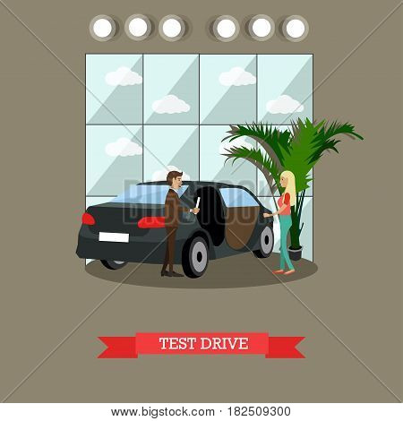 Test drive concept vector illustration. Young lady passing her test drive with instructor. Driving school flat style design element.