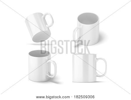 Blank white glass mug mockups set isolated 3d rendering. Clear 11 oz coffee cup mock up for sublimation printing. Empty gift pint set branding template. Glassy restaurant tankard design.