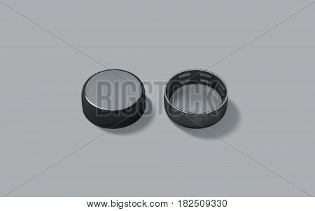 Blank black plastic bottle caps mockup set isolated front and back side view 3d rendering. Empty mineral water lids mock ups top. Fizzy pop circle clear cover design template. Soda drink element