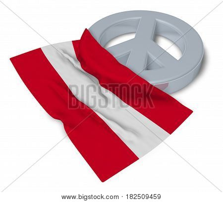 peace symbol and flag of austria - 3d rendering