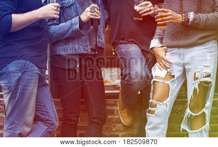 Group of friends drinking beer hangout together