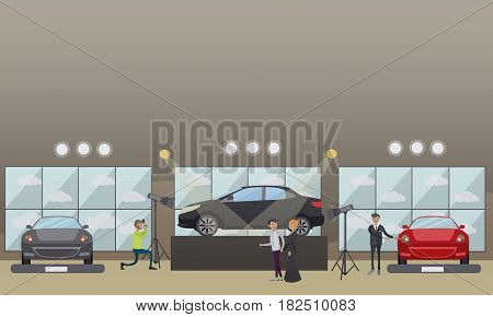 Car show concept vector illustration. Car dealer demonstrating auto to visitors, photographer taking photo of new car in exhibition pavilion, showroom or car dealership. Flat style design.