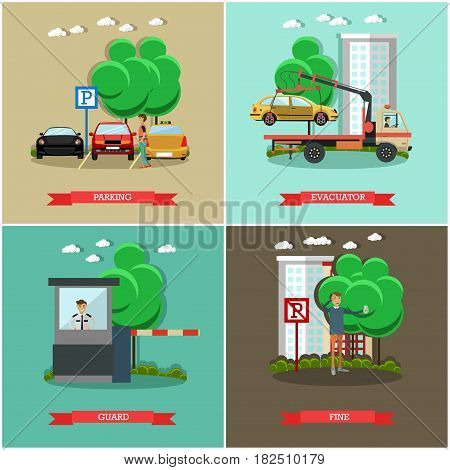 Vector set of car parking square posters. Parking, Evacuator, Guard and Fine flat style design elements.