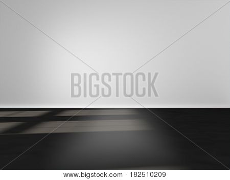 Empty space wiyh white wall and black floor. Mock-up template for display products title or logo. Studio or blank office space. 3d illustration