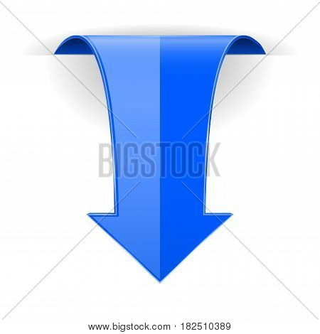 Blue DOWN arrow. Web 3d icon. Vector illustration isolated on white background