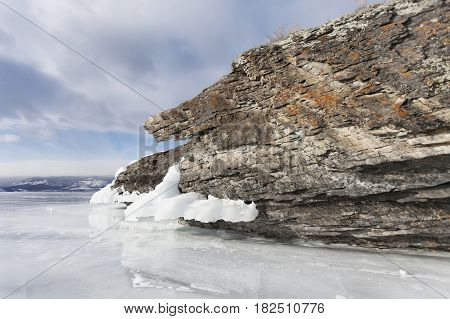 Mare's Head Cape, Lake Baikal, Olkhon Island. Winter Landscape