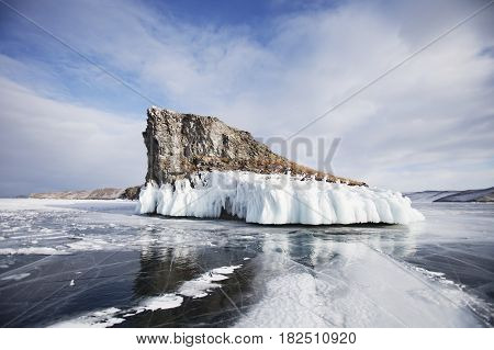 Mare's Head Cape, Ice Of Lake Baikal, Olkhon Island. Winter Landscape