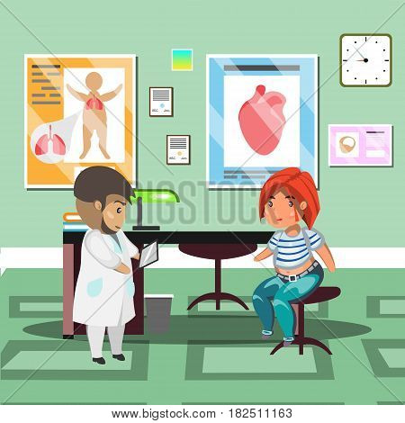 Treatment with patient in doctor office. Vector illustration