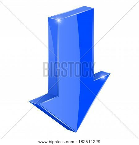 Blue DOWN arrow. 3d web icon. Vector illustration isolated on white background