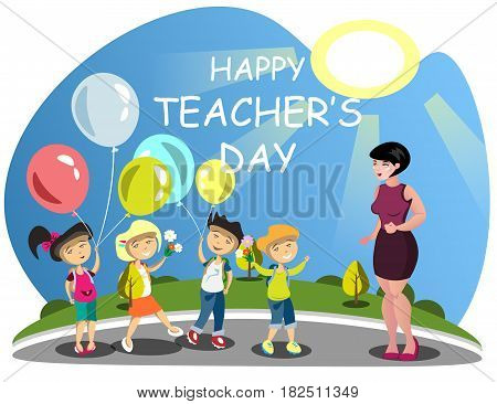 Children congratulates the teacher on flowers. Vector illustration