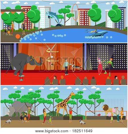 Vector set of dolphinarium, circus and zoo posters, banners. Zoo animals, trained circus and dolphinarium animals. Aerial acrobats and clowns performing on stage. Flat style design elements.