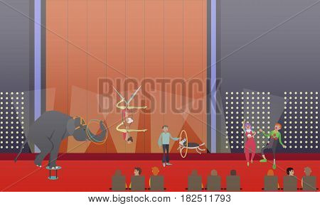 Circus show vector illustration. Animal show with trained elephant and dog, aerial acrobats and clowns performing on stage flat style design elements.