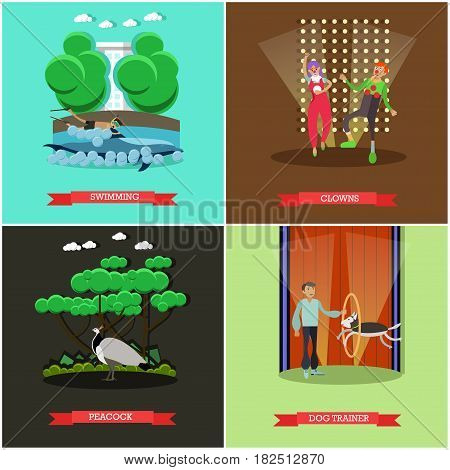 Vector set of dolphinarium and circus show posters. Swimming, Clowns, Peacock and Dog trainer flat style design elements.