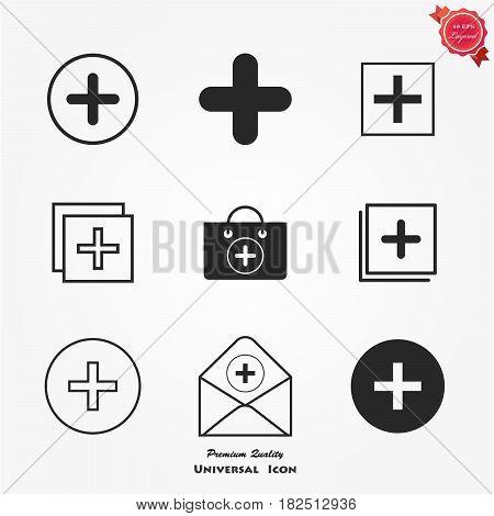 Vector black confirm icons set. Vector illustration.