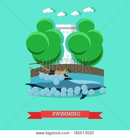 Vector illustration of young man enjoying swimming with dolphin in blue swimming pool. Dolphinarium flat style design.