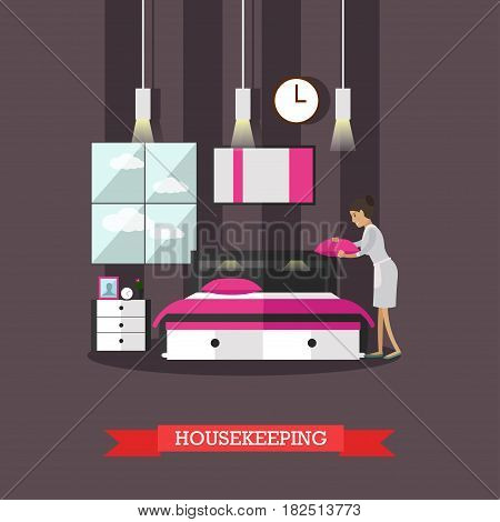 Vector illustration of chambermaid making bed in hotel room. Hotel service, housekeeping flat style design element.