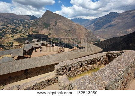 Inca structures in the urban sector of Pisac. Pisac is a Peruvian village in the Sacred Valley of the Incas.