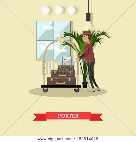 Vector illustration of bellhop, bellboy or bellman moving luggage cart with suitcases of customer. Hotel porter concept design element in flat style.