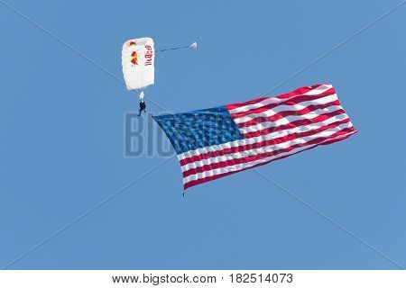 Skydiver Brings The Usa Flag Down To The Show
