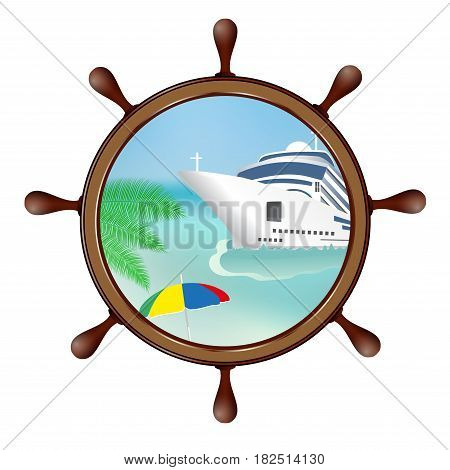 Helm and porthole with island and the ship. Concept advertising sea travel. Vector illustration.