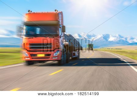 truck drives on road
