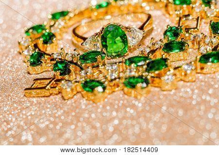Golden Bracelet With Emerald