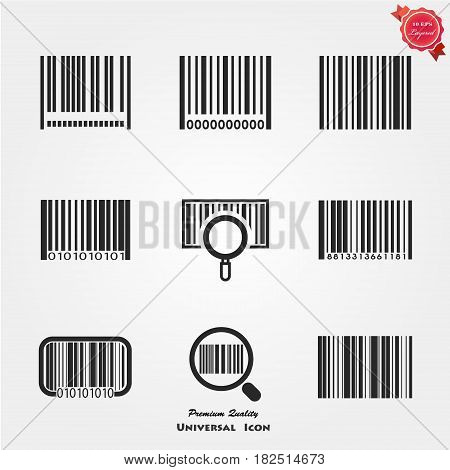 Black bar code icon. Symbol about shopping concept.