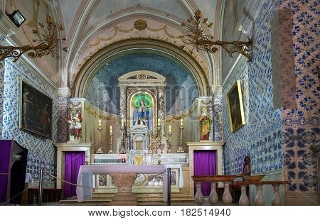 JERUSALEM ISRAEL - APRIL 8 2017: Interior of Church of Saint John the Baptist Ein Karem Jerusalem