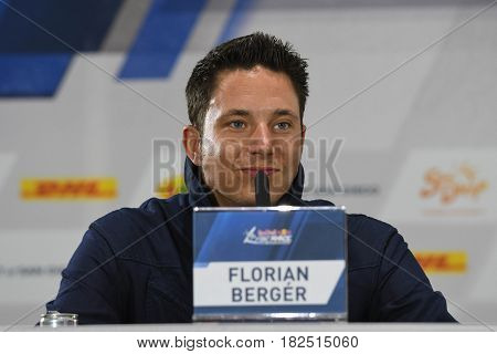 San Diego, USA - April 16, 2017: Florian Berger during press conference the Red Bull Air Race World Championship.