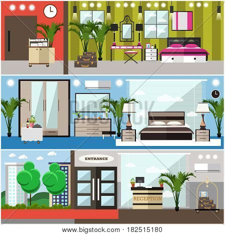 Vector set of luxury hotel interior posters, banners. Hotel suite, deluxe hotel room, comfortable bedroom flat style design elements.