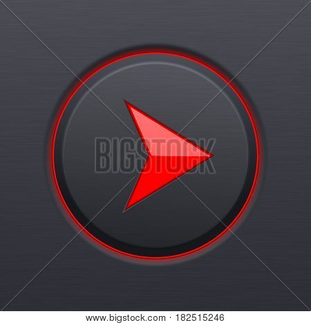 Next button. Round red arrow on black plastic background. Vector 3d illustration