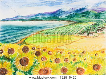 Rural landscape with sunflowers. A small village by the sea and mountains in the background. Painting