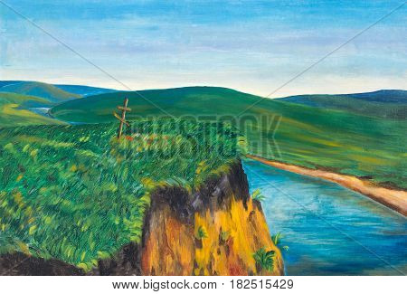 Steep Bank of the river. Steppe river with a cross on the steep Bank. Painting