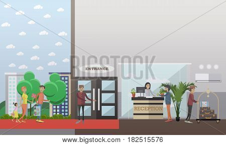 Hotel check in concept vector illustration. Receptionist and hotel porter or doorman services flat style design element.