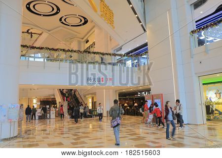 HONG KONG - NOVEMBER 11, 2016: Unidentified people visit Temple Mall. Temple Mall is modern shopping mall located in Wong Tai Sin.