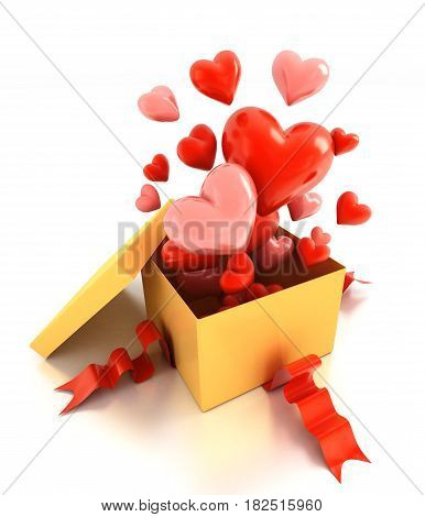 Open gift box with hearts over white. 3d illustration.