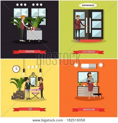 Vector set of hotel square posters. Waiter, Doorman, Tip and Manager flat style design elements.