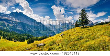 Colorful summer morning in Oeschinen valley Kandersteg village location. Beautiful outdoor scene in Bernese Oberland Alps Switzerland Europe. Artistic style post processed photo.