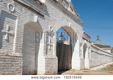 Priirtyshsky, Russia - May 2, 2010: Gate of Ioanno-Vvedensky female monastery. Tobolsk district