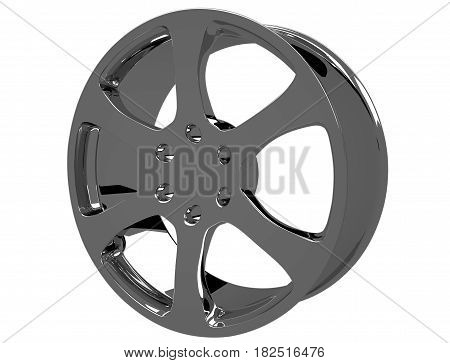 Chrome image 3D high quality rendering. Alloy rim for car best used for Motor Show promotion isolated on white background with clipping path