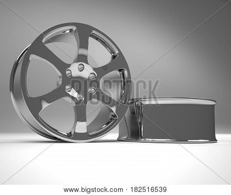 Chrome image 3D high quality rendering. Alloy rim for car best used for Motor Show promotion or car workshop booklet or flyer design on white background
