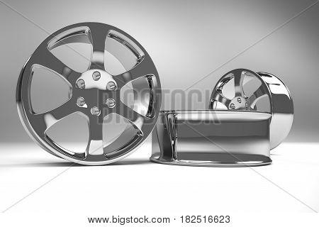 Chrome image 3D high quality rendering. Alloy rim for car best used for Motor Show promotion or car workshop booklet or flyer design on white background